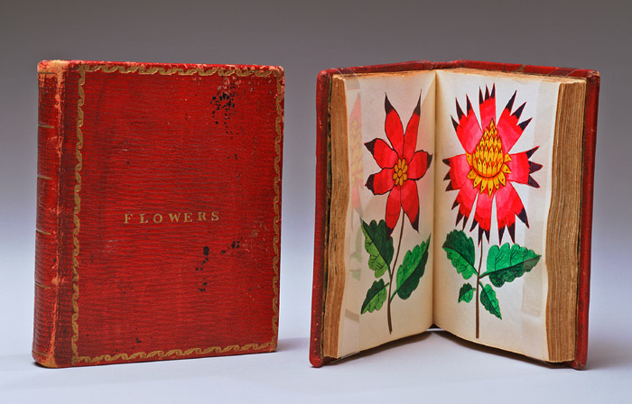 Pair of small floral- illustrated books, Probably American, 1833