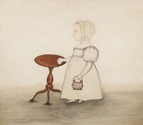 A standing little girl with candlestand, Attributed to J. Evans (active 1827-1850)