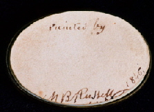 Miniature portrait of Emma P. Pickering, Moses B. Russell (1809-1884) signature