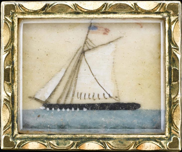 Brooch with miniature of sailing vessel flying the American flag, American, circa 1840